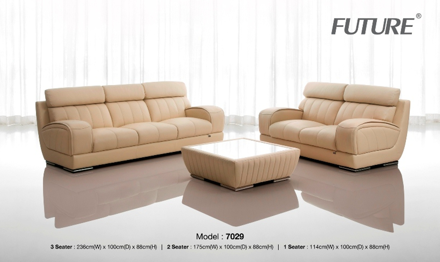 SOFA BĂNG DA BÒ - FUTURE MODEL 7029