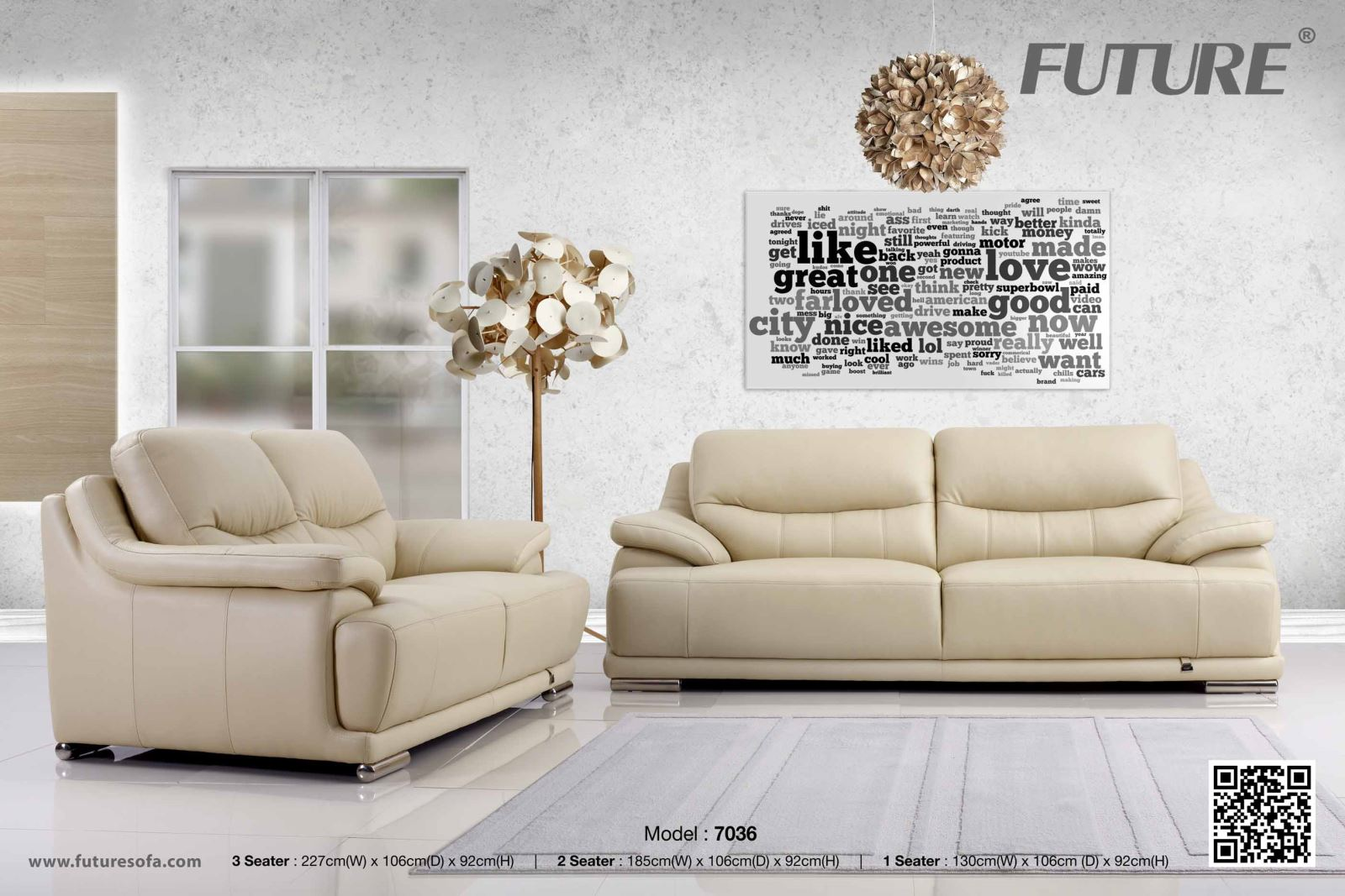 SOFA BĂNG DA BÒ - FUTURE MODEL 7036