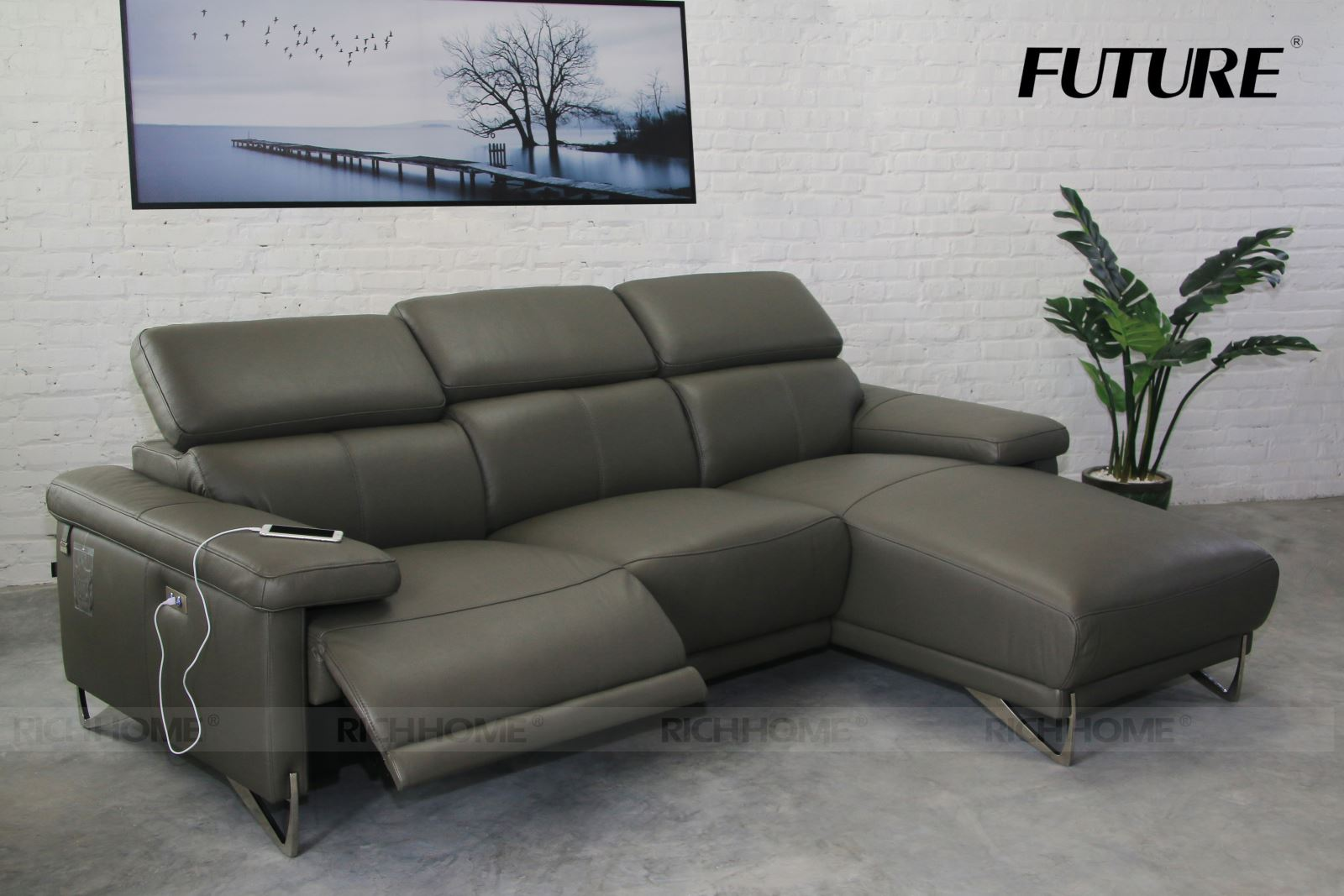 SOFA DA BÒ CHỮ L - FUTURE MODEL 7067 (3L)