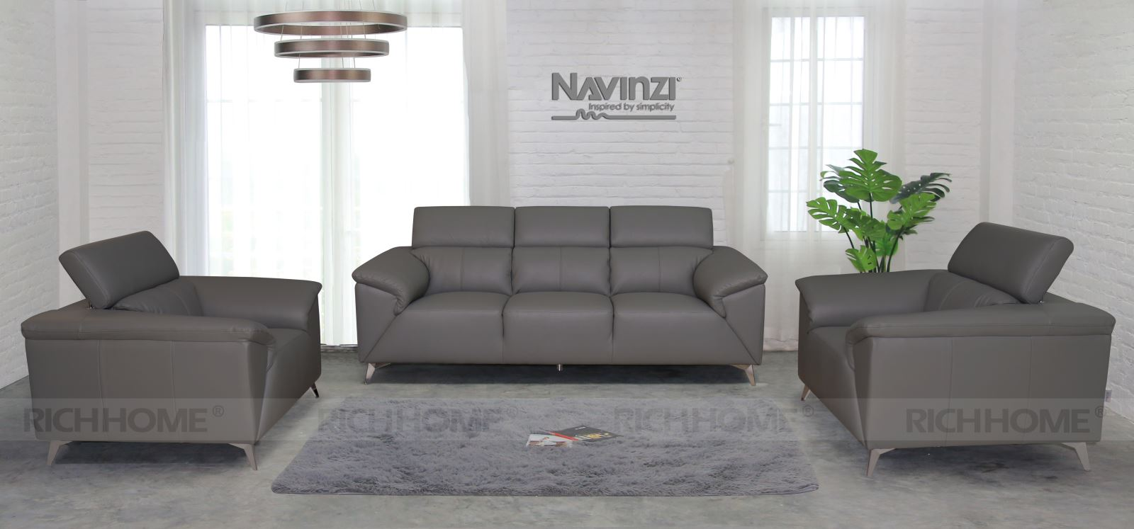 Sofa băng da Navinzi Magic kiểu 1+1+3 - Có 20 màu sắc tùy chọn